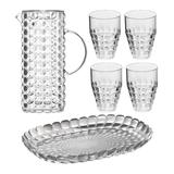Guzzini Tiffany 6-Piece Drinking Set with Pitcher, Tray and Tumblers in Clear