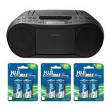Sony Stereo CD/Cassette Boombox Home Audio Radio with Six Batteries in Black