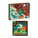 Mudpuppy Dinosaur Dig 100-Piece Double-Sided Jigsaw Puzzle with Mighty Dinosaurs Magnetic Two 20-Piece Puzzles
