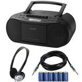 Sony Stereo CD/Cassette Boombox Home Audio Radio with Headphones, Audio Cable and Battery Bundle in Blue