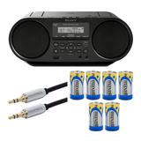 Sony ZSRS60BT CD Boombox with Bluetooth and NFC with Audio Cable and Batteries in Black