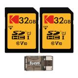 Kodak 32GB Class 10 UHS-I SDHC Memory Card (2 Pack) with Focus All-In-One High Speed USB Card Reader in Black/Yellow