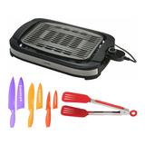 Zojirushi EB-DLC10 Indoor Electric Grill with 8-Inch Nylon Flipper Tongs and 6-Piece Color Chef Knife Set Bundle in Black