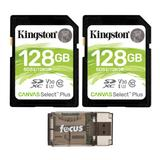 Kingston 128GB SDHC Canvas Select Class 10 UHS-1 (SDS/32GB) Memory Cards (2-Pack) with Card Reader