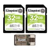Kingston 32GB SDHC Canvas Select Class 10 UHS-1 (SDS/32GB) Memory Card (2-Pack) with Card Reader