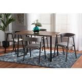 Baxton Studio Delgado Modern and Contemporary Grey Fabric Upholstered and Black Metal 5-Piece Dining Set - Wholesale Interiors D03013-Grey-5PC Dining Set