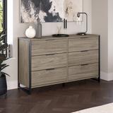 kathy ireland® Home by Bush Furniture Atria 6 Drawer Dresser in Modern Hickory - Bush Business Furniture ARS160MHK
