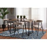Baxton Studio Delgado Modern and Contemporary Beige Fabric Upholstered and Black Metal 5-Piece Dining Set - Wholesale Interiors D03013-Beige-5PC Dining Set