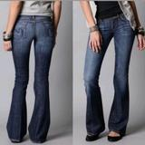 Anthropologie Jeans | Citizens Of Humanity Ingrid 002 Stretch Low Waist Flare Raw Cut Jeans 27 | Color: Blue | Size: 27