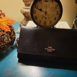 Coach Bags | Coach Black Leather Trifold Wallet | Color: Black | Size: Os