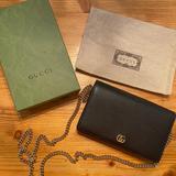 Gucci Bags | Black Gucci Gg Marmont Leather Mini Chain Bag | Color: Black/Gold | Size: Os