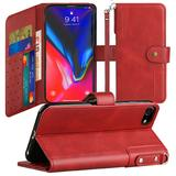 Faux Leather Mobile Phone Wallet Case with Card Slots and Strap, Red For iPhone 8
