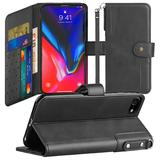 Faux Leather Mobile Phone Wallet Case with Card Slots and Strap, Black For iPhone 7