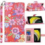 Spring Flowers Design Fashion Mobile Phone Wallet Case with Card Slots and Strap, Purple For iPhone SE 2020