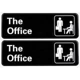 """Excello Global Products The Office Sign: Easy To Mount Sign w/ Symbols, 9""""X3"""" Sign 2-Pack Plastic in Black, Size 9.2 H x 3.2 W x 0.4 D in 