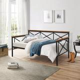 Hillsdale Furniture Ashford Twin Daybed Wood/Metal in Black/Brown, Size 40.25 H x 80.75 W x 43.0 D in | Wayfair 2711-100