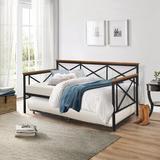 Hillsdale Furniture Ashford Twin Daybed w/ Trundle Wood/Metal in Black/Brown, Size 40.25 H x 80.75 W x 43.0 D in | Wayfair 2711DBT