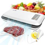 LAKEKYD Vacuum Sealer Machine, Automatic Food Sealer For Food Savers W/Starter Kit|Led Indicator Lights|Easy To Clean|Dry & Moist Food Modes in White