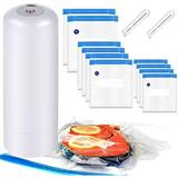 SUN Handheld Food Vacuum Sealer, Automatic Portable Food Sealer For Food Savers w/ 10 Pack Reusable Sous Vide Bags, 2 Sealing Clips in White Wayfair