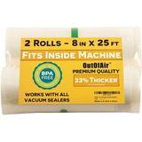 "SUN 8"" X 25' Rolls (Fits Inside Machine) - Pack Of 2 (50 Feet Total) Vacuum Sealer Rolls. Works w/ Foodsaver Vacuum Sealers. 33% Thicker, BPA Free"