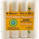 "SUN 11"" X 25' Rolls (Fits Inside Machine) - 4 Pack (100 Feet Total) Vacuum Sealer Rolls. Works w/ Foodsaver Vacuum Sealers. 33% Thicker, BPA Free"