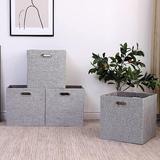 Latitude Run® Cube Storage Bins 13×13 Foldable Storage Box, Collapsible Organization Basket Fabric Set Of 4 Large Capacity w/ Handles in Gray