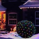 The Holiday Aisle® 100 LED Christmas Lights 5 Ftx5ft Net Christmas Lights Outdoor Indoor Mesh Christmas Decorations Lights String in Green   Wayfair