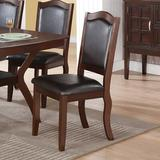 Canora Grey 2-PCS Dining Chairs w/ Black Faux Leather Seat Back & Red Brown Rubber Wood Frame in Brown/Red, Size 40.0 H x 20.0 W x 23.0 D in Wayfair