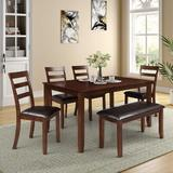 Red Barrel Studio® 6 - Piece Breakfast Nook Dining Set Wood/Upholstered Chairs in Black/Brown/Green, Size 83.0 H x 36.0 W x 59.8 D in   Wayfair