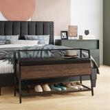 17 Stories Shoe Storage Bench Cushion w/ Shelf, Easy Assembly, Space Saving, Pu Leather in Black, Size 24.2 H x 39.4 W x 15.0 D in | Wayfair