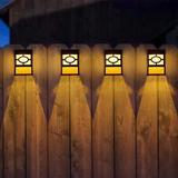 Latitude Run® Wall Lamp w/ Solar Deck Light, 6-Piece Outdoor Wall Lamp, Garden Decoration Fence Post Lighting Plastic in White   Wayfair