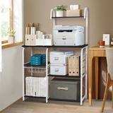 """Prep & Savour Baker'S Rack, Microwave Cart 35.5""""W Utility Storage Shelf, 4+3-Tier Shelf Kitchen Cart Organizer Workstation w/ Wire Basket & 5 Hook"""