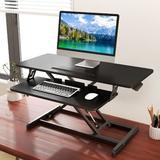 Inbox Zero Standing Desk Converter Adjustable Height 32 Inch Sit To Stand Up Desk Riser in Black, Size 19.3 H x 32.0 W x 15.7 D in   Wayfair