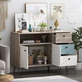 Corrigan Studio® Storage Cabinet w/ 3 Drawer 2 Doors 1 Shelves Wood in Brown, Size 30.3 H x 41.9 W x 15.4 D in   Wayfair