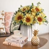 Primrue Artificial Sunflowers Flowers In Vase Fake Silk Flowers Arrangement w/ Vase Table Centerpieces For Home Decoration (Yellow) Silk in White