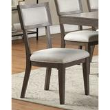 Gracie Oaks Dining Room Chairs Cushion Seat Back Faux Leather/Wood/Upholstered in Brown/Gray, Size 37.0 H x 19.0 W x 25.0 D in | Wayfair