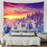 The Holiday Aisle® Winter Scenery Nature Tapestry Wall Hanging For Merry Christmas Sunrise Light Through The Snow Mountain Forest Landscape Tapestries Wall Art Home Deco