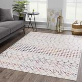 Foundry Select Dounia Moroccan Farmhouse Beige, Gray, Yellow, Red, Orange Area Rug Polypropylene in White, Size 31.0 W x 0.31 D in | Wayfair