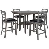 Red Barrel Studio® 5-piece Wooden Counter Height Dining Set w/ Padded Chairs & Storage Shelving Wood/Upholstered Chairs in Black/Brown/Gray | Wayfair