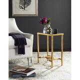 Everly Quinn Mita Mirror Top Gold Leaf End Table in Yellow, Size 23.0 H x 16.0 W x 10.0 D in | Wayfair 18CBB0FE58134D1F915841DBE2C7DB40