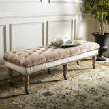 One Allium Way® Meador Tufted Bench Brass Nail Heads Polyester/Polyester Blend/Upholstered in Brown, Size 19.0 H x 63.0 W x 21.0 D in | Wayfair