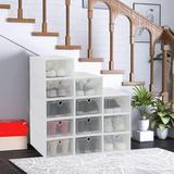 "Rebrilliant Shoe Box, 12 Pack Shoe Storage Boxes Clear Plastic Stackable, Shoe Organizer Containers w/ Lids For Women/Men (18.5""X14.6""X5.12"")"