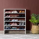 Latitude Run® 3 Pcs 31-Inch Stackable Multi-Shape Shoe Rack,Brown Manufactured Wood in White, Size 36.0 H x 31.0 W x 12.0 D in | Wayfair