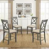 Gracie Oaks Wood 4-Piece Counter Height Dining Upholstered Chairs+Beige Cushion in Gray, Size 39.4 H x 17.3 W x 17.3 D in   Wayfair