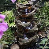 Loon Peak® Indoor Outdoor 30.7 Inch 5-Tier Floor Rack Waterfall Fountain w/ White LED Light For Patio Yard Garden Lawn in Brown   Wayfair