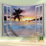 Rosecliff Heights Beach Tapestry Ocean Sea Beach Window Scene Theme Tapestry Nature Tropical Beach Wave Hawaii Scenery Tapestry Wall Hanging For Bedroom Living Room Dec