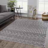 Foundry Select Dounia Moroccan Farmhouse Black, Gray Area Rug Polypropylene in White, Size 24.0 W x 0.31 D in | Wayfair