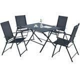 Costway 5 Piece Patio Dining Furniture Set with 4 Armchairs and 1 Dining Table-Gray