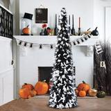 The Holiday Aisle® 5' Slender Black Christmas Tree & Tree Garland in Black/White, Size 60.0 H x 12.0 W in   Wayfair