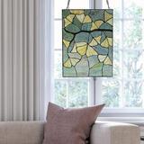 Winston Porter Ginkgo Leaf Stained Glass Window Panel in Green, Size 17.5 H x 13.0 W x 0.0394 D in | Wayfair 646CC5EBE78B46E2A15468801E18ECCB